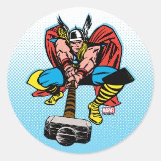 Thor Swinging Mjolnir Forward Classic Round Sticker