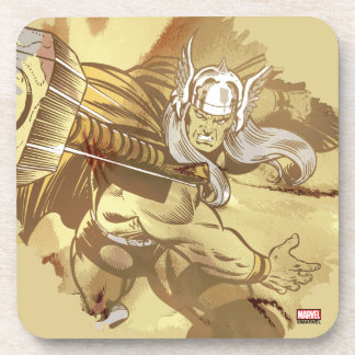 Thor Throwing Mjolnir Beverage Coasters