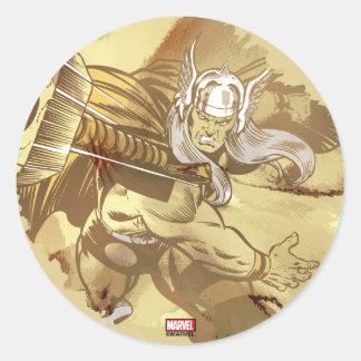 Thor Throwing Mjolnir Classic Round Sticker
