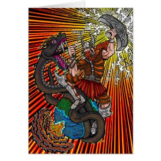 Thor vs. Jörmungandr Greeting Card