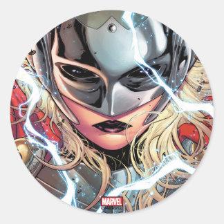 Thor With Lightning Classic Round Sticker