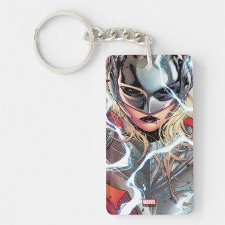 Thor With Lightning Double-Sided Rectangular Acrylic Keychain