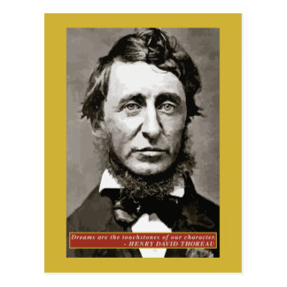 Thoreau - Dreams quote postcard