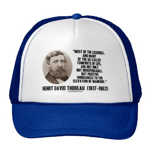 Thoreau Luxuries So-Called Comforts Of Life Quote Mesh Hats