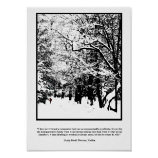 Thoreau Quote Poster, Lone Snow Walk Poster