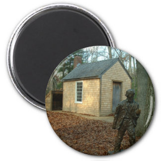 Thoreau's statue and cabin 2 inch round magnet