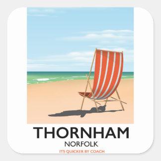 Thornham Norfolk seaside travel poster. Square Sticker