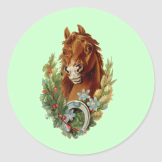 Thoroughbred Christmas Wishes Classic Round Sticker