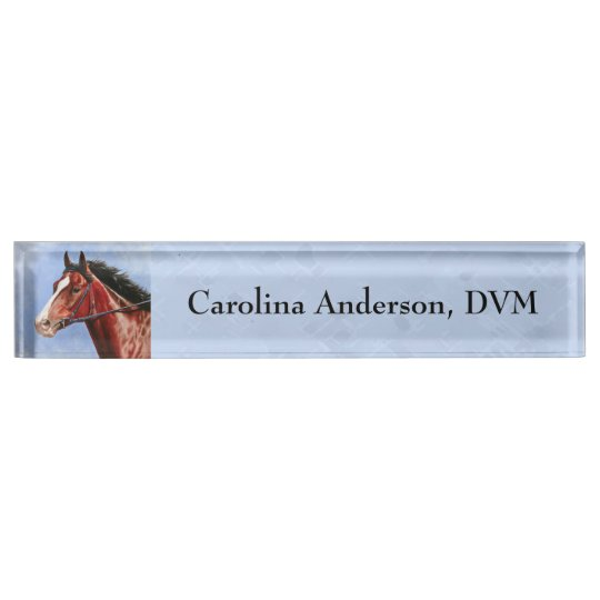 Thoroughbred Horse Racehorse Blue Name Plate