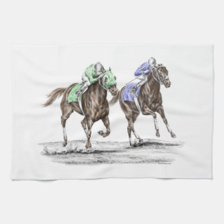 Thoroughbred Horses Racing Kitchen Towel