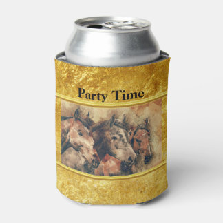 Thoroughbred horses running in a field can cooler