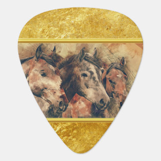 Thoroughbred horses running in a field guitar pick