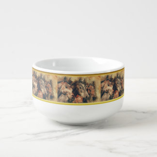 Thoroughbred horses running in a field soup mug