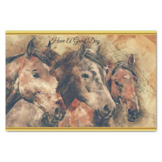 Thoroughbred horses running in a field tissue paper