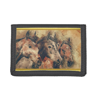 Thoroughbred horses running in a field tri-fold wallet