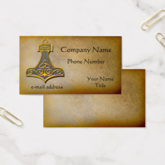 Thors Hammer gold Business Card