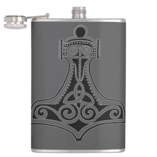 Thor's Hammer (Grey) Hip Flask