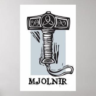 Thor's hammer Mjolnir Poster