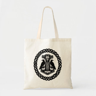Thor's Hammer with Ravens in a Celtic Knot Circle Tote Bag