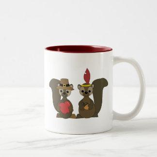 Those Thanksgiving Squirrels Two-Tone Coffee Mug