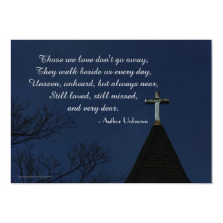 "Those We Love Memorial Service Old Wooden Cross 5"" X 7"" Invitation Card"