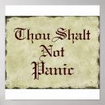 Thou Shalt Not Panic   Humour Parchment Poster
