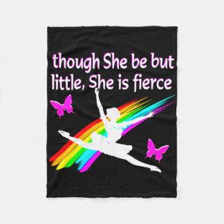 THOUGH SHE IS LITTLE SHE IS FIERCE DANCER DESIGN FLEECE BLANKET