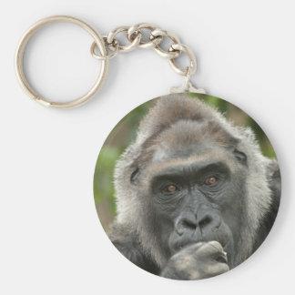 Thoughtful Gorilla Keychain