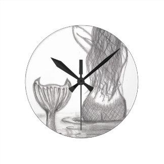 Thoughtful Mermaid Round Clock