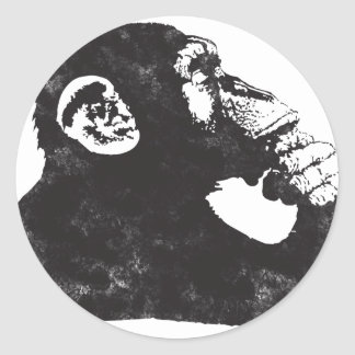 Thoughtful Monkey Classic Round Sticker