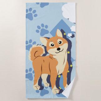 Thoughtful Shiba Inu Beach Towel