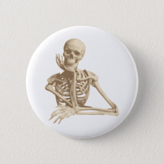 Thoughtful Skeleton 2 Inch Round Button