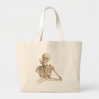 Thoughtful Skeleton Large Tote Bag