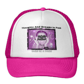 Thoughts And Dreams In Pink  Hat Black Words