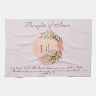 Thoughts of Peace Floral Jeremiah 29:11 Kitchen Towel