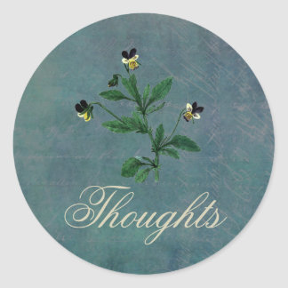 Thoughts of You with Botanical Violas Classic Round Sticker
