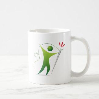 Threading The Needle Stick Figure Man Classic White Coffee Mug