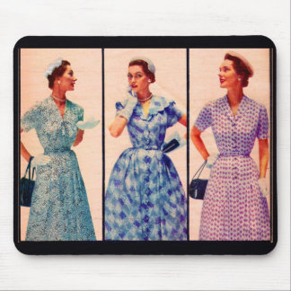 three 1953 dresses - vintage clothing mouse pad