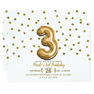 Three 3 Gold Balloon Confetti 3rd Birthday Party Card