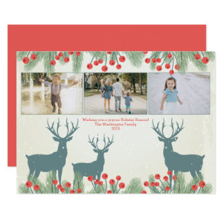 Three 3 photo holly berry and deer Christmas card