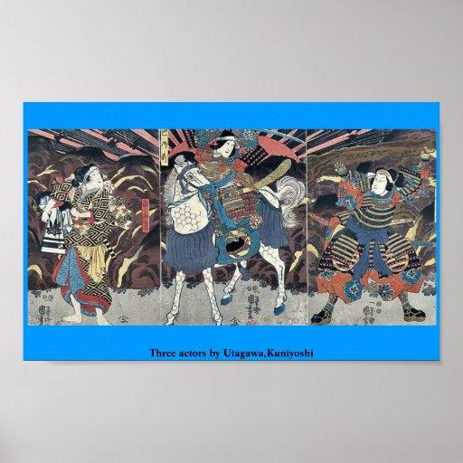 Three actors by Utagawa,Kuniyoshi Poster