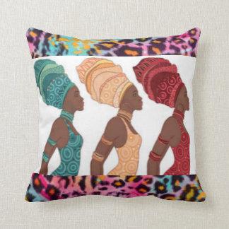 Three Africian Ladies & Leopard Pattern Print Throw Pillow