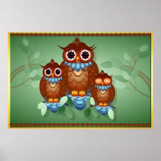 Three Alert Little Owls Posters