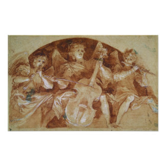 Three Angel Musicians Print