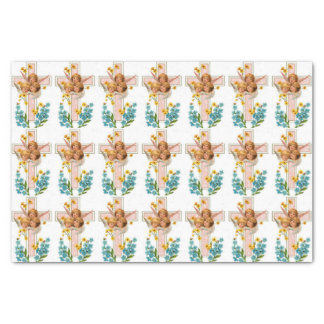 Three Angels Cross And Flowers Tissue Paper