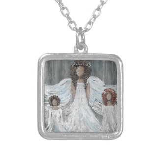 Three Angels Silver Plated Necklace