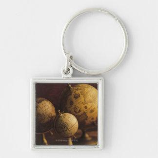 Three antique globes key chain
