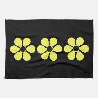 Three Artsy Yellow Daisies Kitchen Towel