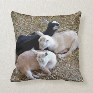 Three Baby Goats Throw Pillow