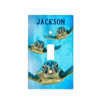 Three Baby Sea Turtles Swimming Light Switch Cover
